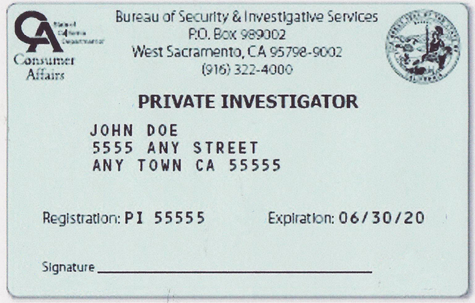 California Private Investigator Pi License Test Exam 2017